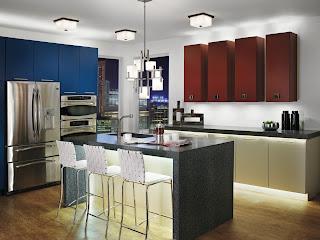 brightly lit kitchen LED strip lights