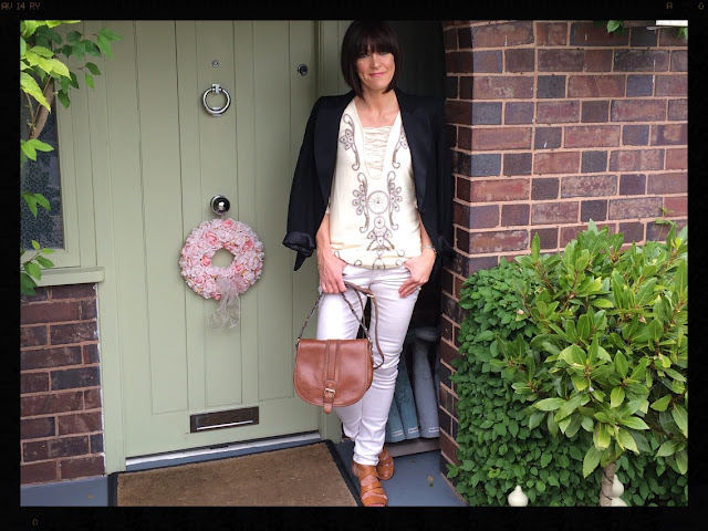 la Redoute Long Sleeved Dress With Embroidery and Studs My Midlife Fashion, Tuxedo, Blazer, Zara, Clarks, Cross Body bag, Massimo Dutti, Skinny Jeans