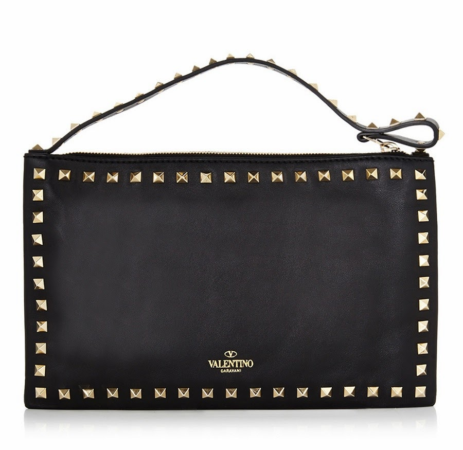 Valentino Rock Stud Clutch Black