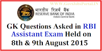 GK QUESTIONS ASKED IN RBI ASSISTANT EXAM 2015