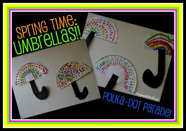 umbrella painting, spring art for children, bulletin board, circle painting for children