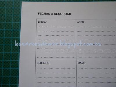 Detalle de página de agenda con fechas para recordar