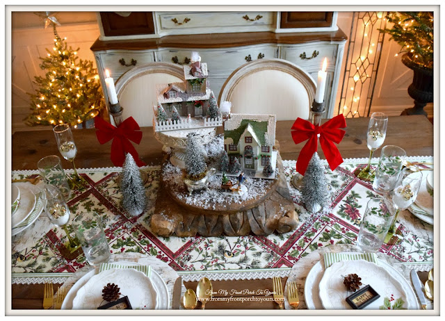 Farmhouse Christmas Dining Room-Christmas Village-Christmas Centerpiece-Putz Houses- From My Front Porch To Yours