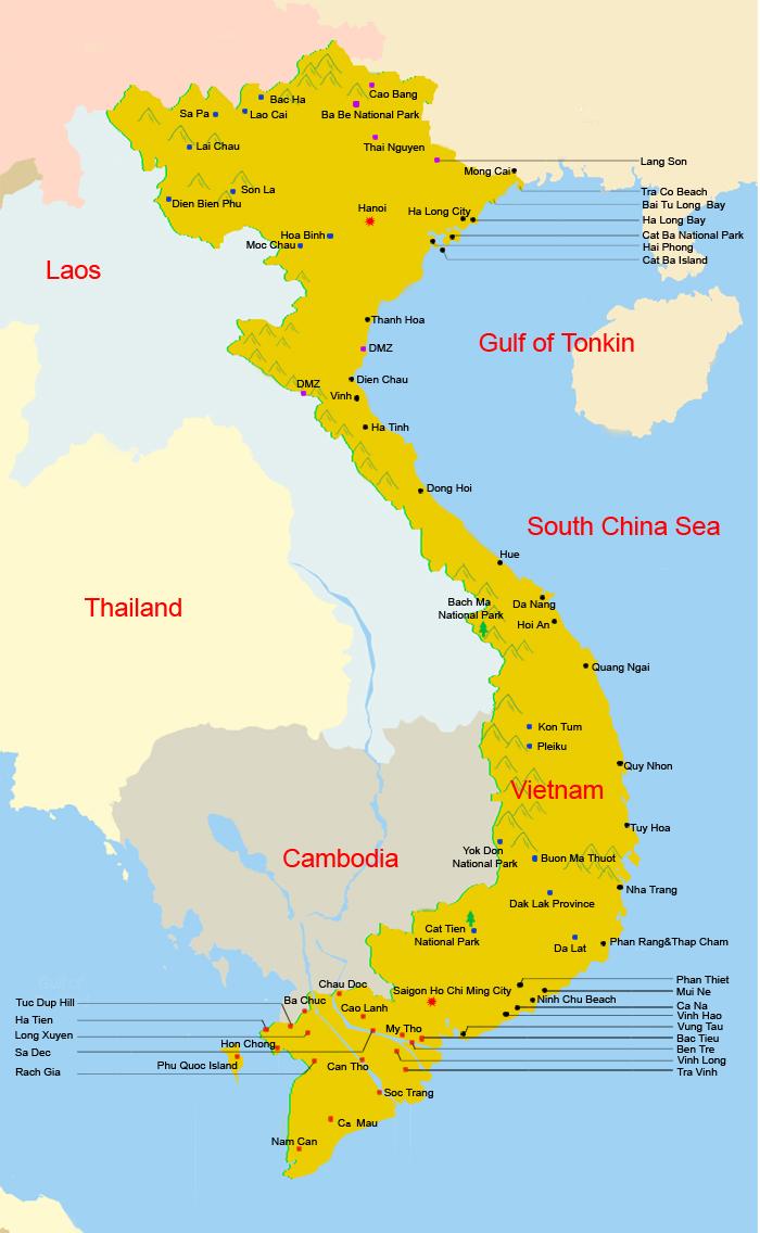 Где на находится на карте вьетнама