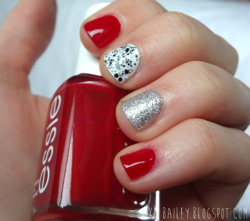 Valentine's Day nails, Essie A List, red, silver, black and white polka dots