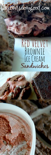 red velvet brownie ice cream sandwiches (sweetandsavoryfood.com)