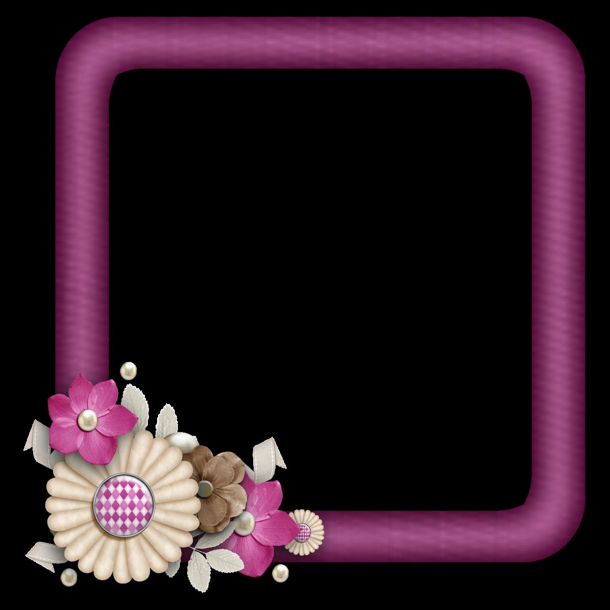 free digital scrapbook element burgundy flower cluster square frames