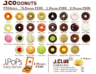 Their flavors and price list. Pic was taken from J.Co. Facebook Page