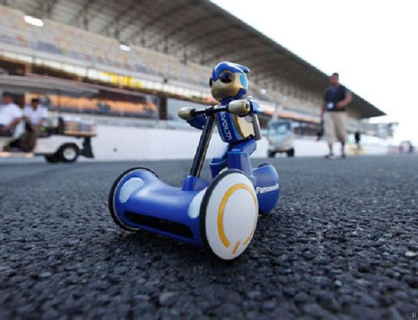 Evolta Robot on a bike