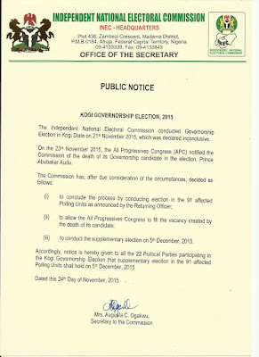 INEC gives verdict on Kogi governorship election