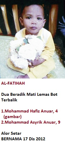 Dua Beradik Lemas Bot Terbalik