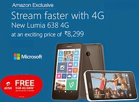 Cheapest Windows 4G Smart Phone Exclusively @ Amazon:Nokia Lumia 638 for Rs.6499 Only