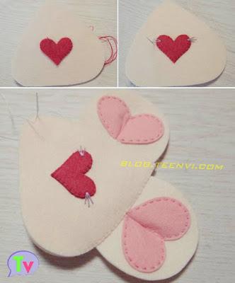 4. Khâu hình trái tim đỏ (hình 5) lên mặt thú bông (hình 1) làm mũi, mỗi bên mũi khâu thêm 3 chiếc ria mép. Đặt chồng lên tấm mặt còn lại khâu viền và nhớ khâu cả 2 chiếc tai vào luôn