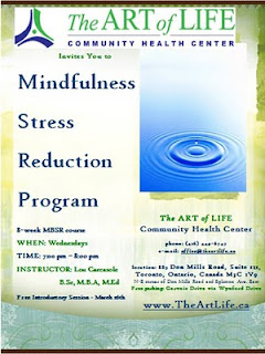 mindfulness meditation Toronto Lou Carcasole, the art of life community health centre