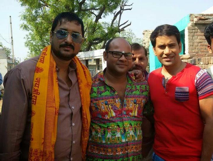 On the set film - 'Raja babu, Dinesh Lal Yadavi, Sanjay Pandey