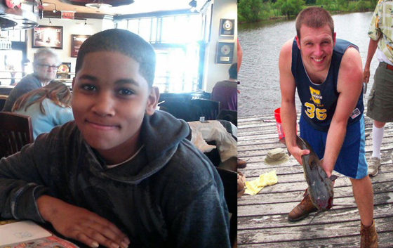 "12-Year-Old Tamir Rice (left) was executed by psychotic cop Tim Loehmann for playing with a toy gun in an empty playground.. Loehmann claimed he thought Rice was a grown man. Ohio is supposed to be an ""open carry"" state - It  appears Ohio's ""open carry"" laws were designed for white people only.—Ronald David Jackson"