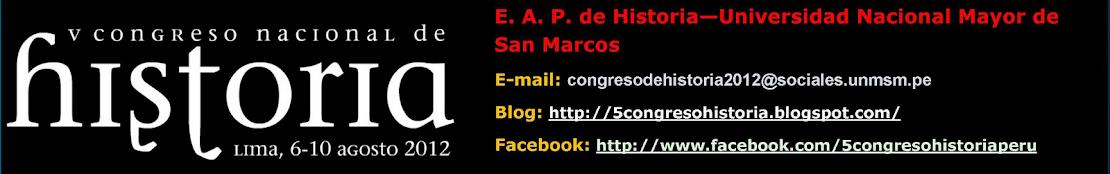 QUINTO CONGRESO NACIONAL DE HISTORIA DEL PERÚ