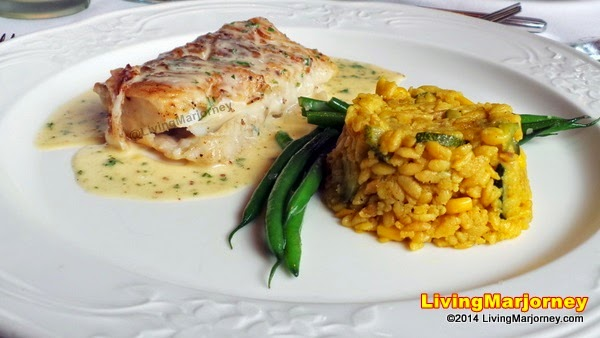 Fried CodFish Fillet with Pommery Mustard sauce served with Corn Rice Pilaf and Sauteed French Beans