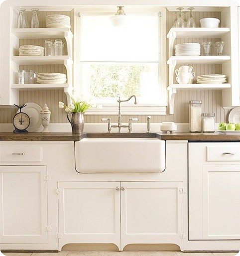 25 open shelving kitchens the cottage market for Open shelves in kitchen ideas
