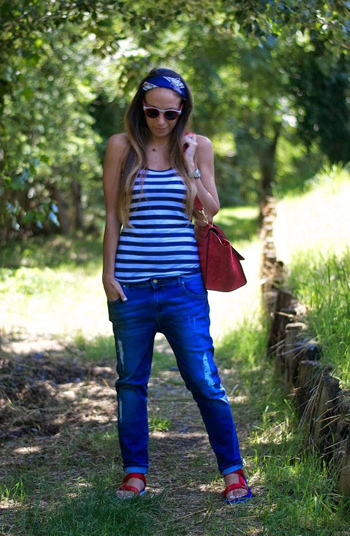 canotta righe + jeans boyfriend