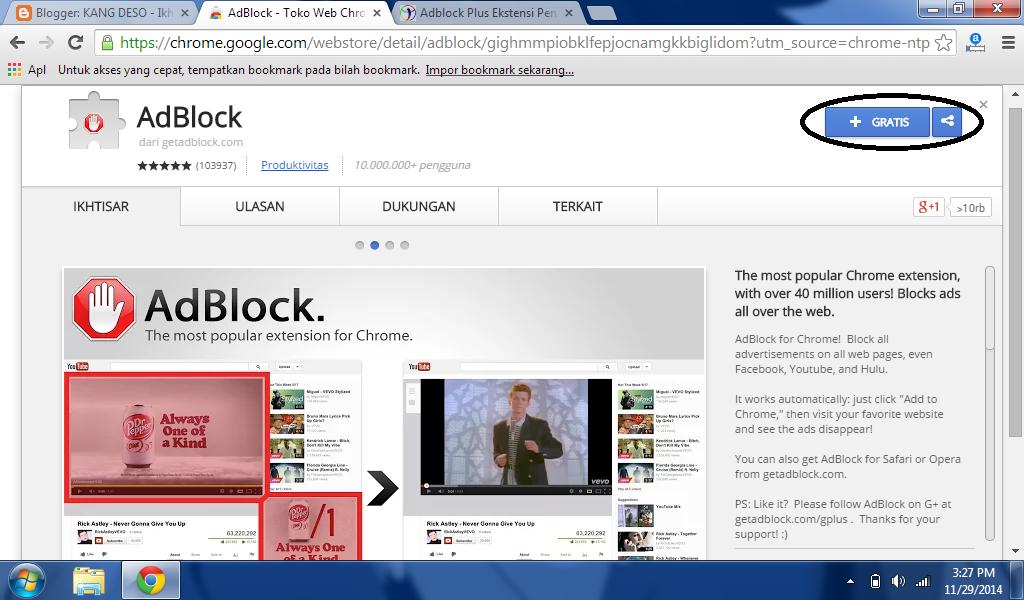 Instal AdBlock pada Chrome