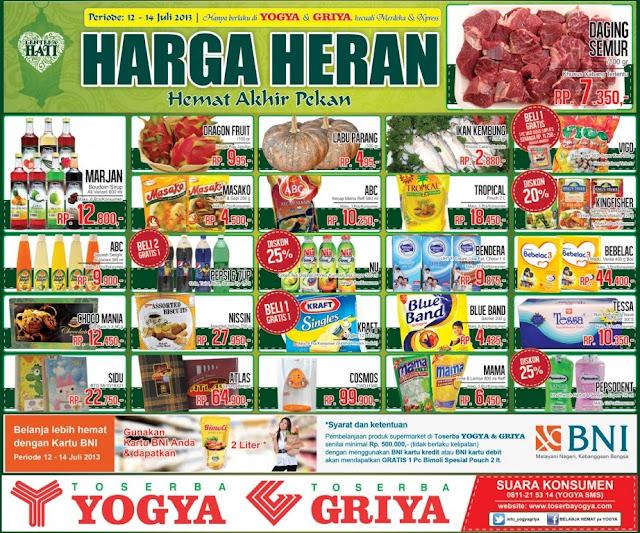 Katalog/Daftar Harga Promo Murah Yogya Minggu ini Juli 2013