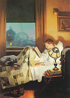 boy reading in bed painting by american artist Norman Rockwell