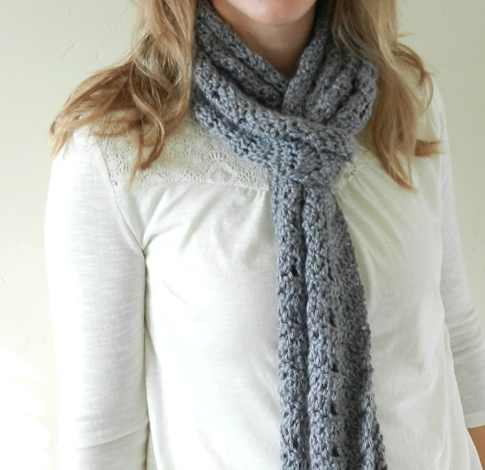 Grey Crochet Chevron Scarf