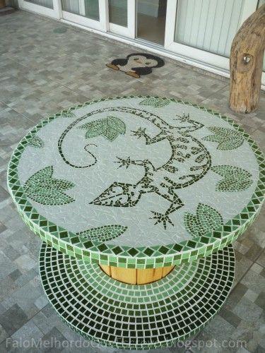 Reciclar reutilizar y reducir mesas de bobinas de cable for Mesas de mosaico