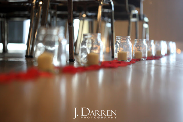 photo of little candles set up for the ceremony aisle at Twelve West Main in Thomasville NC