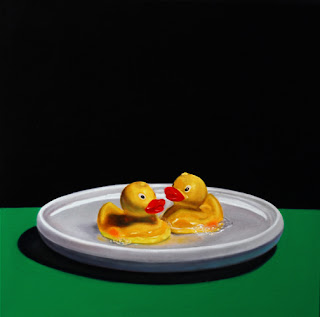 original still life oil painting by jeanne vadeboncoeur, rubber duckies, frisbee