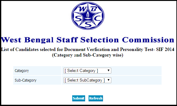 WBSSC Food Supply Sub Inspector SIF 2014 Written Examination Result, Category Wise Cut off & Selected Candidates list for Personality Test