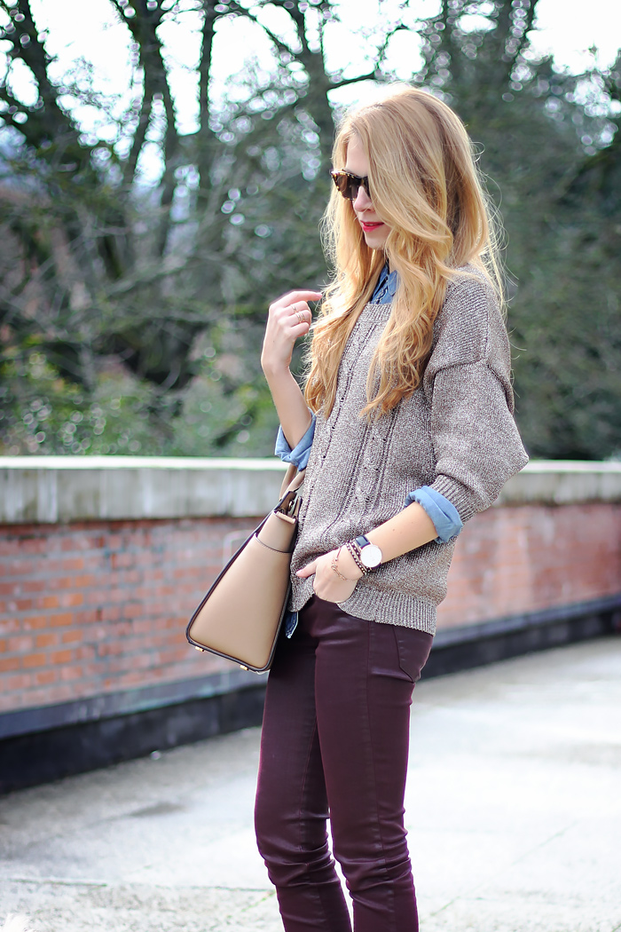 metallic sweater, burgundy pants, micheal kors selma bag, zara boots, outfit