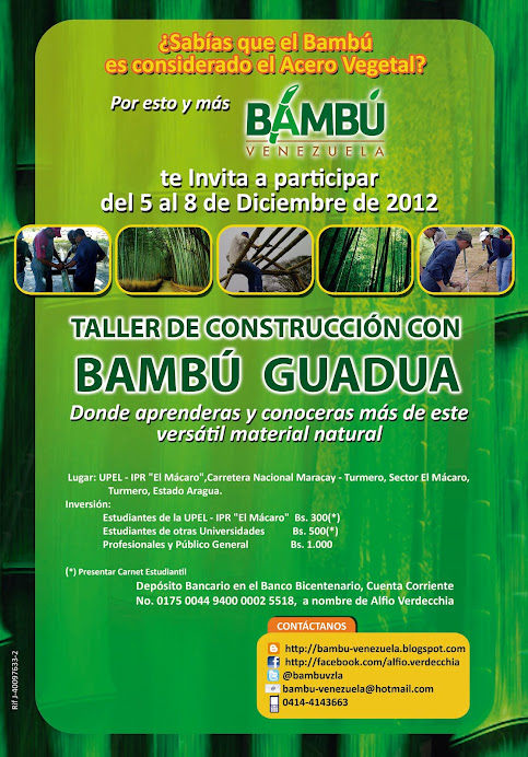 """Taller de """"Construcción con Bambú Guadua"""" en Aragua"""