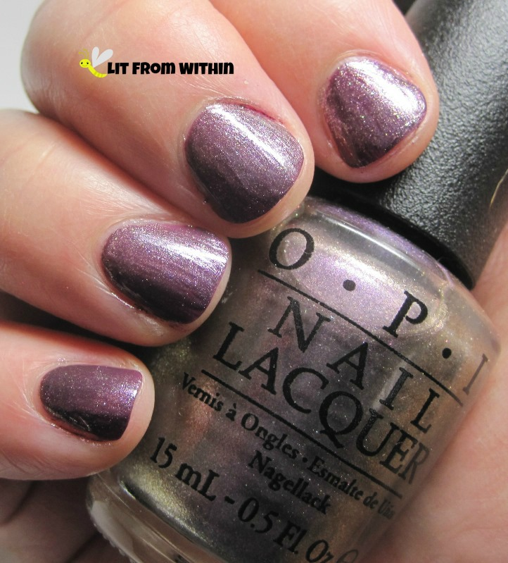 OPI Next Stop...The Bikini Zone, a green/purple frosty duochrome