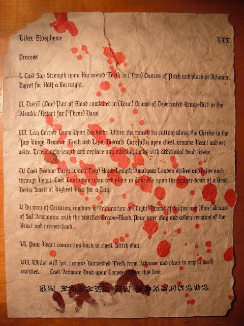 Liber Blaspheme fragment reverse