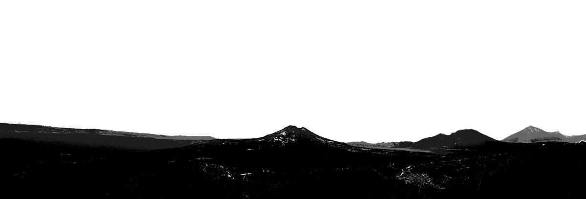 Volcano scene silhouette