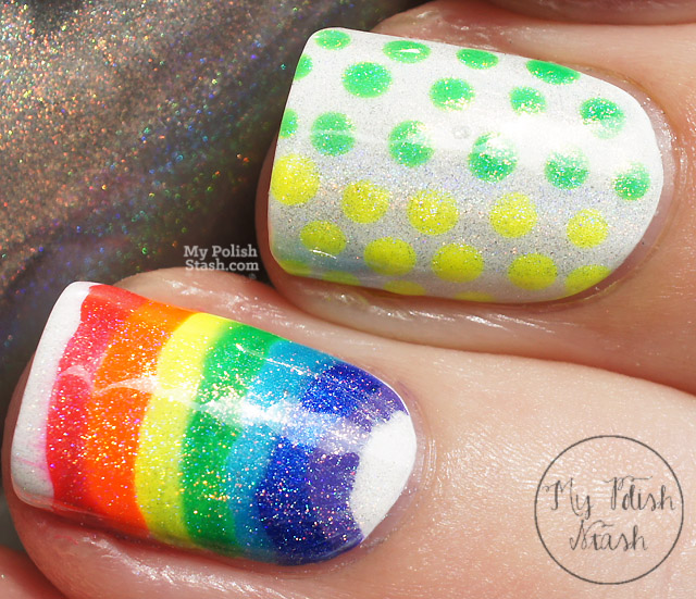 holographic rainbow nail art