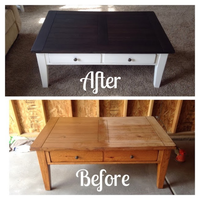 Shabbystringham coffee table makeover for How to refinish a table with paint