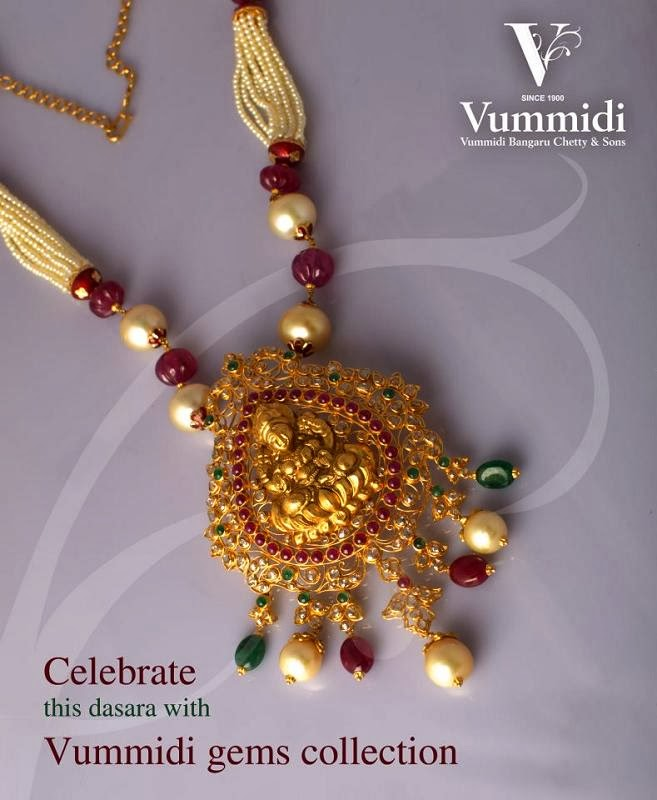 Indian Jewellery Designs Beautiful Lakshmi devi unuct pendant locket