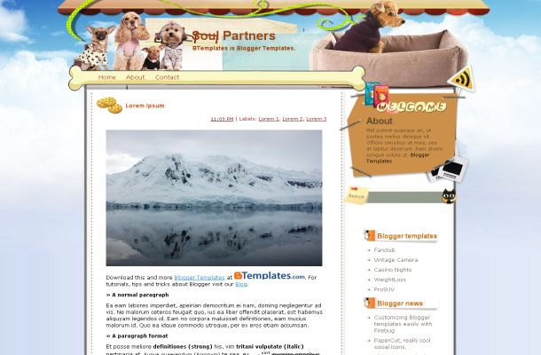 Puppy Dogs Vector Jquery Blogger Theme Template