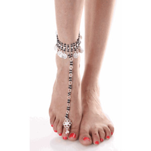 Silver Anklets Toe Ring Handcrafted Indian Foot Jewelry