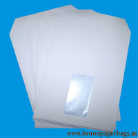 White paper bags window