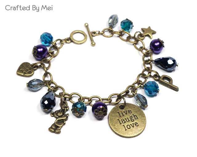 blue Beaded Charm Bracelets