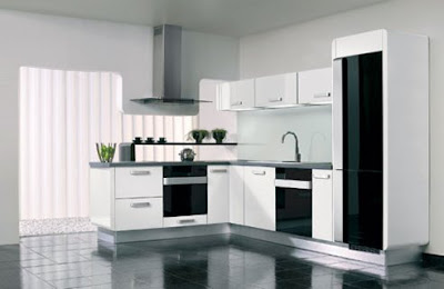 contemporary kitchen design in black and white