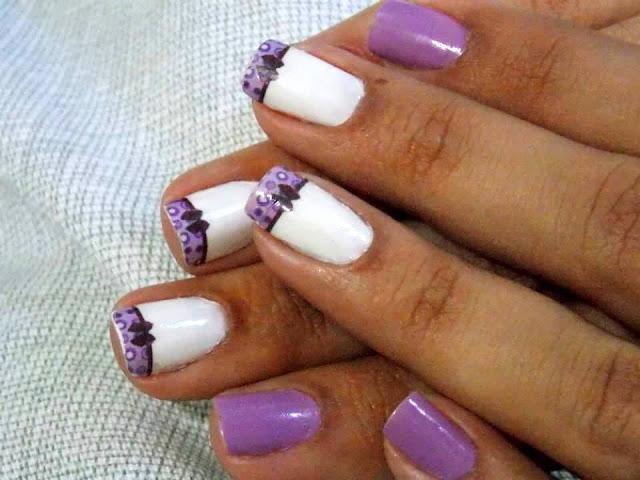 laços lilas adesivos de unhas
