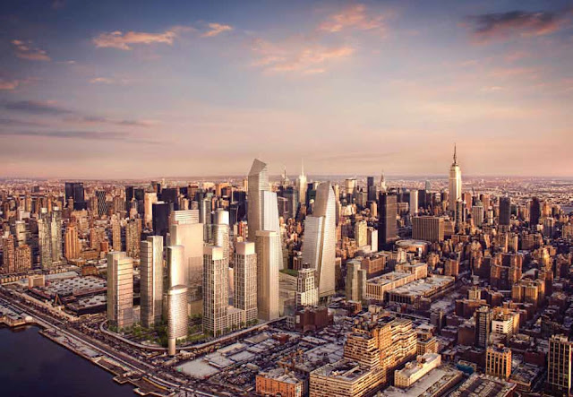 Photo of new towers proposed for phase two with New York skyline