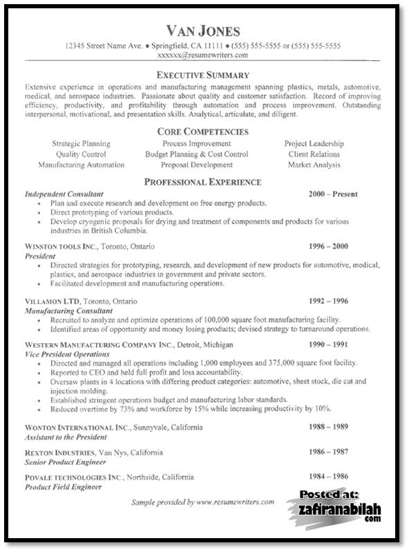 Resume core qualifications examples