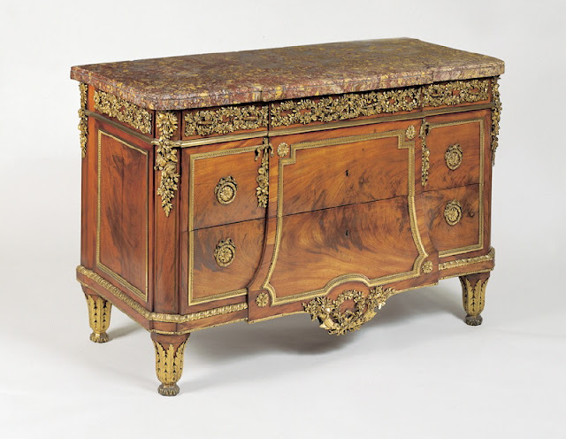 Chest-of-drawers, Jean-Henri Riesener, c. 1782 Oak veneered with mahogany, stringings of ebony and box, gilt bronze, brocatello marble top, steel locks and key