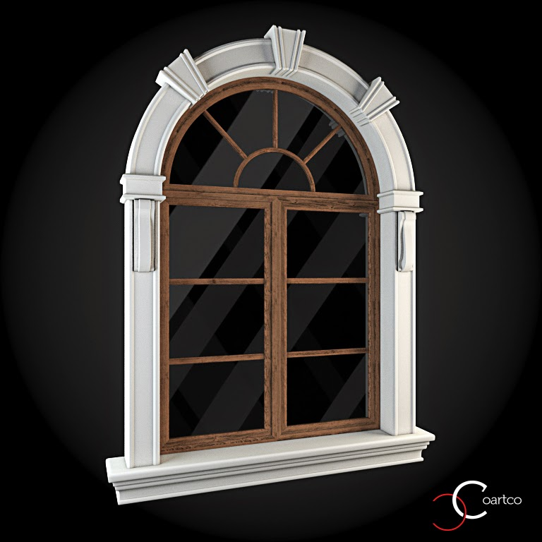 Ornamente Geamuri Exterior, Arcada fatade case cu profile decorative polistiren, profile fatada,  Model Cod: WIN-022